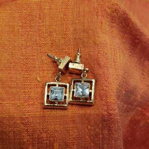 Dangle gold CZ earrings